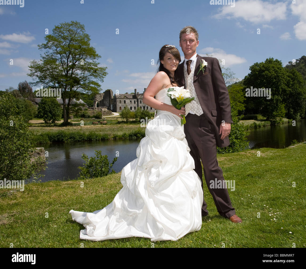 Bride and Groom at Bon Repos Central Brittany France - Stock Image