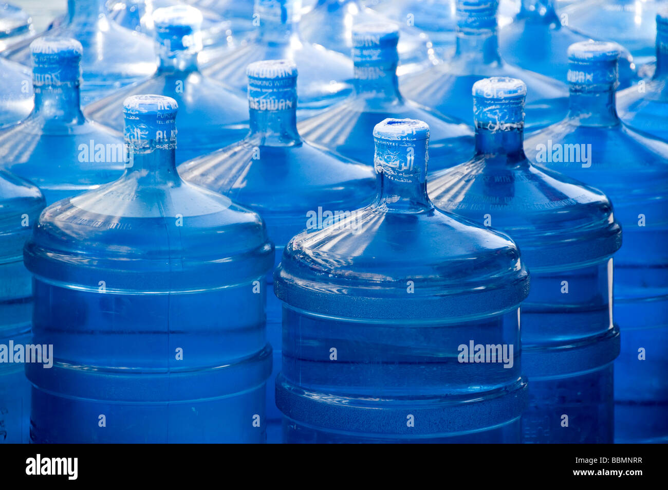 Spring water bottles Dubai - Stock Image