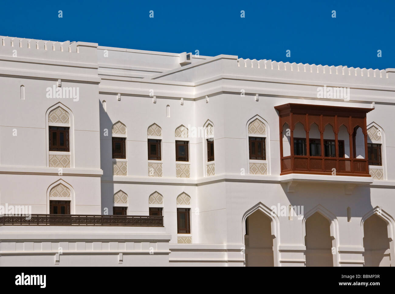 Traditional Arabic Architecture on Qasr Al Alam street in the Old Muscat next to the Al Alam  palace - Stock Image