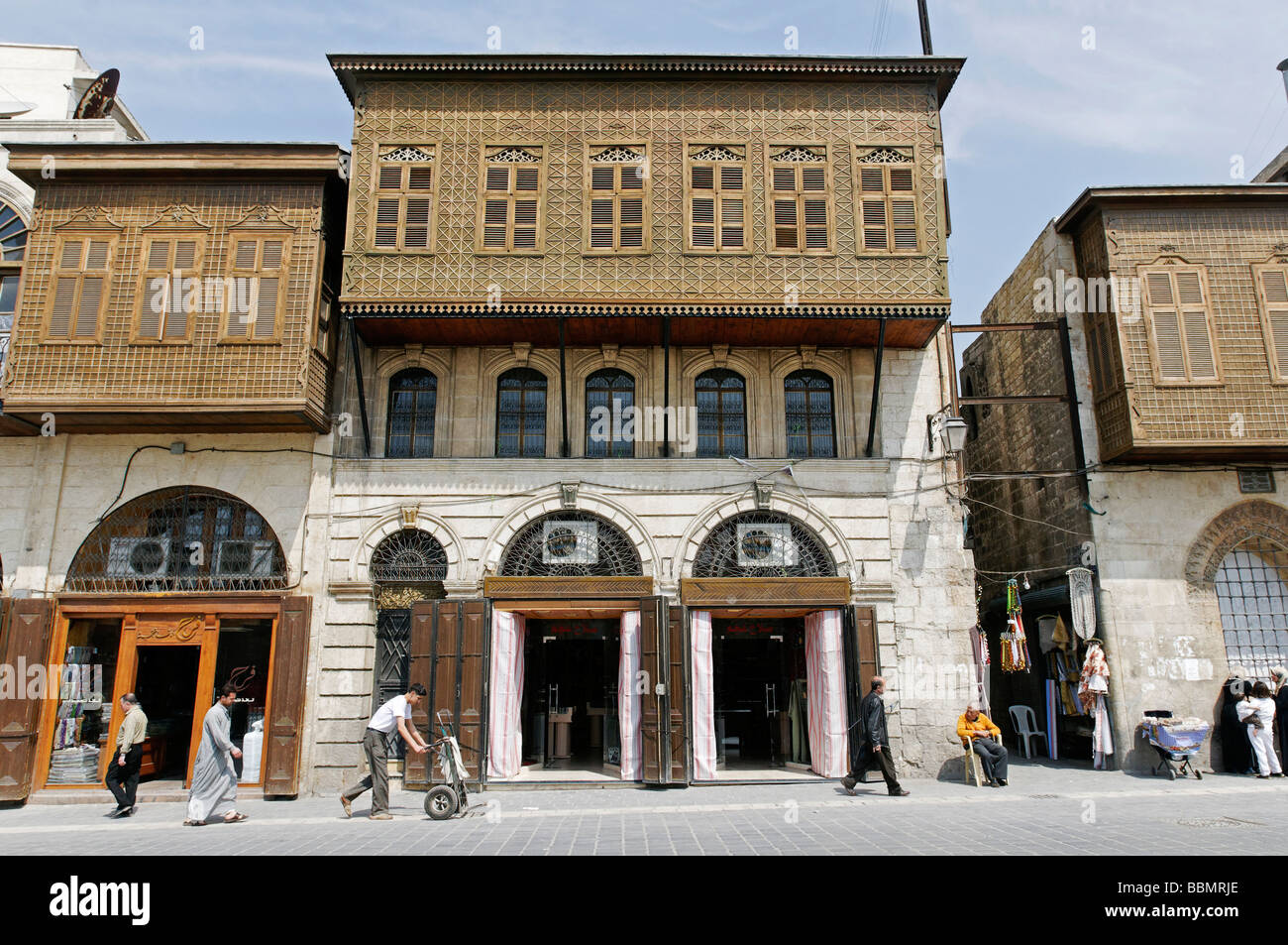 Wooden balconies, Ottoman architectural style, in Aleppo, Syria, Middle East, Asia - Stock Image