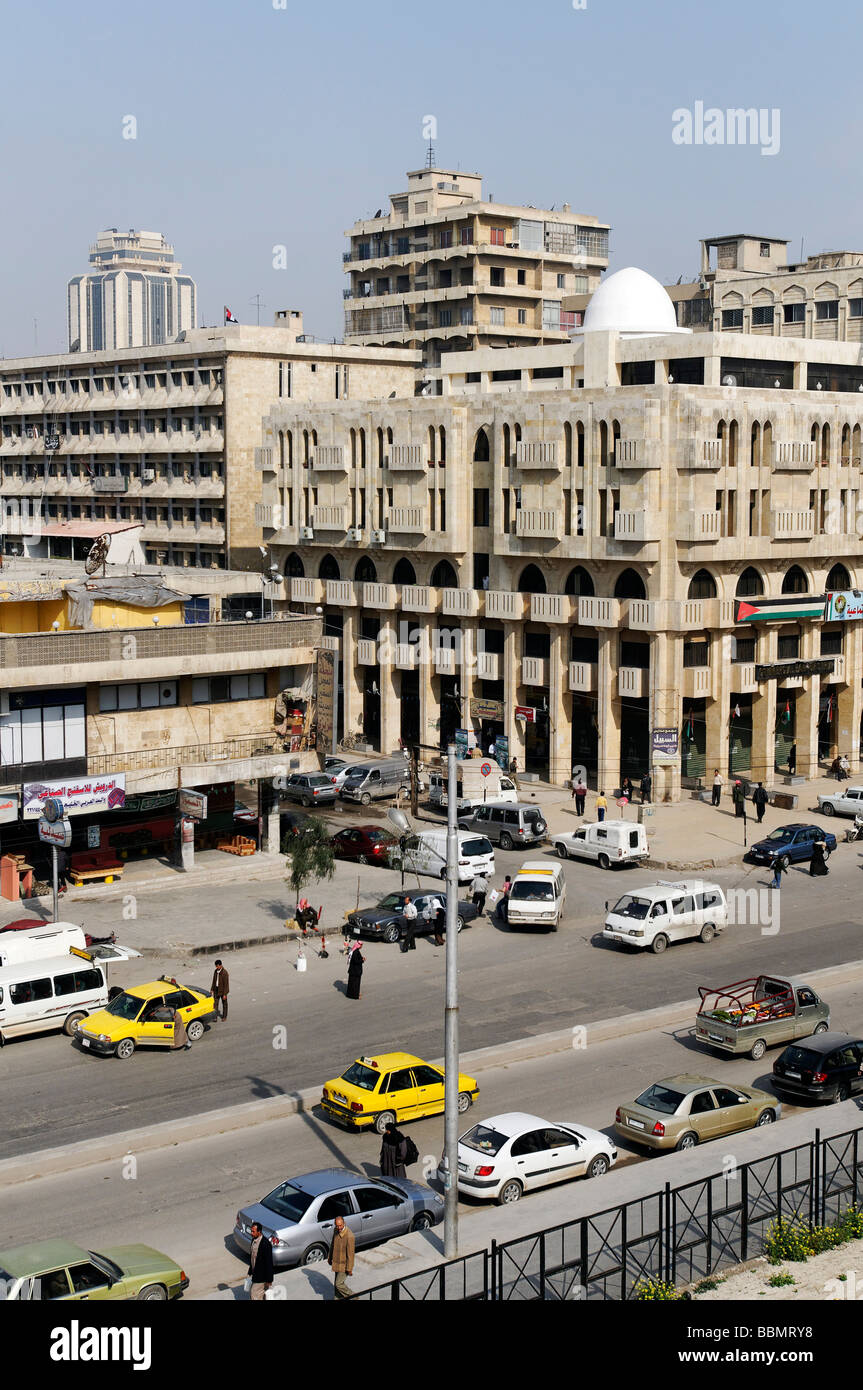 Street and modern buildings in Aleppo, Syria, Middle East, Asia - Stock Image