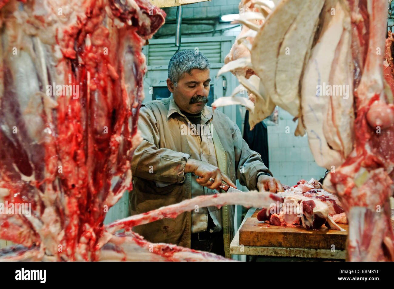 Butcher in the bazaar of Aleppo, Syria, Middle East, Asia - Stock Image
