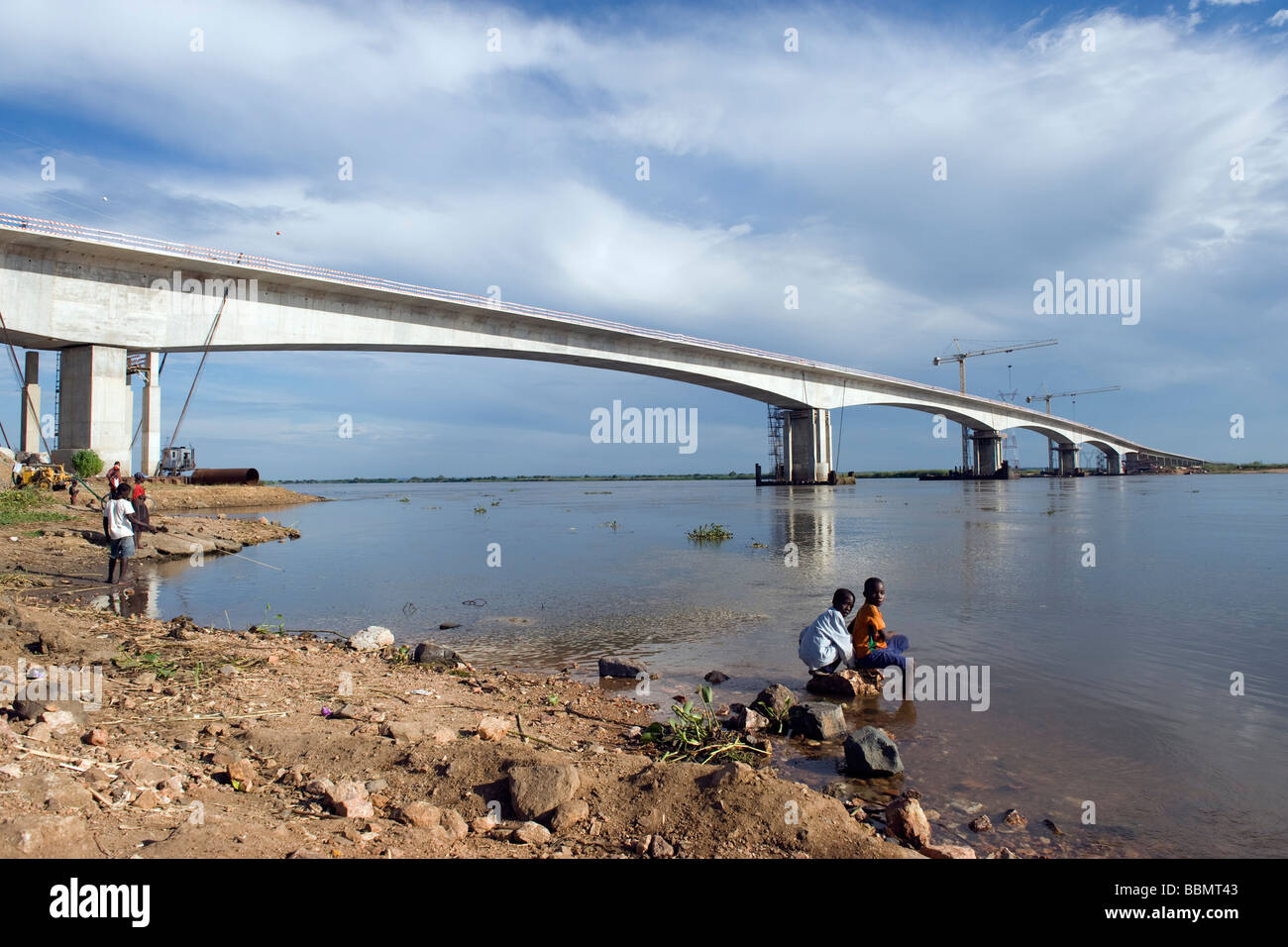 The Zambesi bridge the second longest in Africa 2276m at Caia in Mozambique - Stock Image
