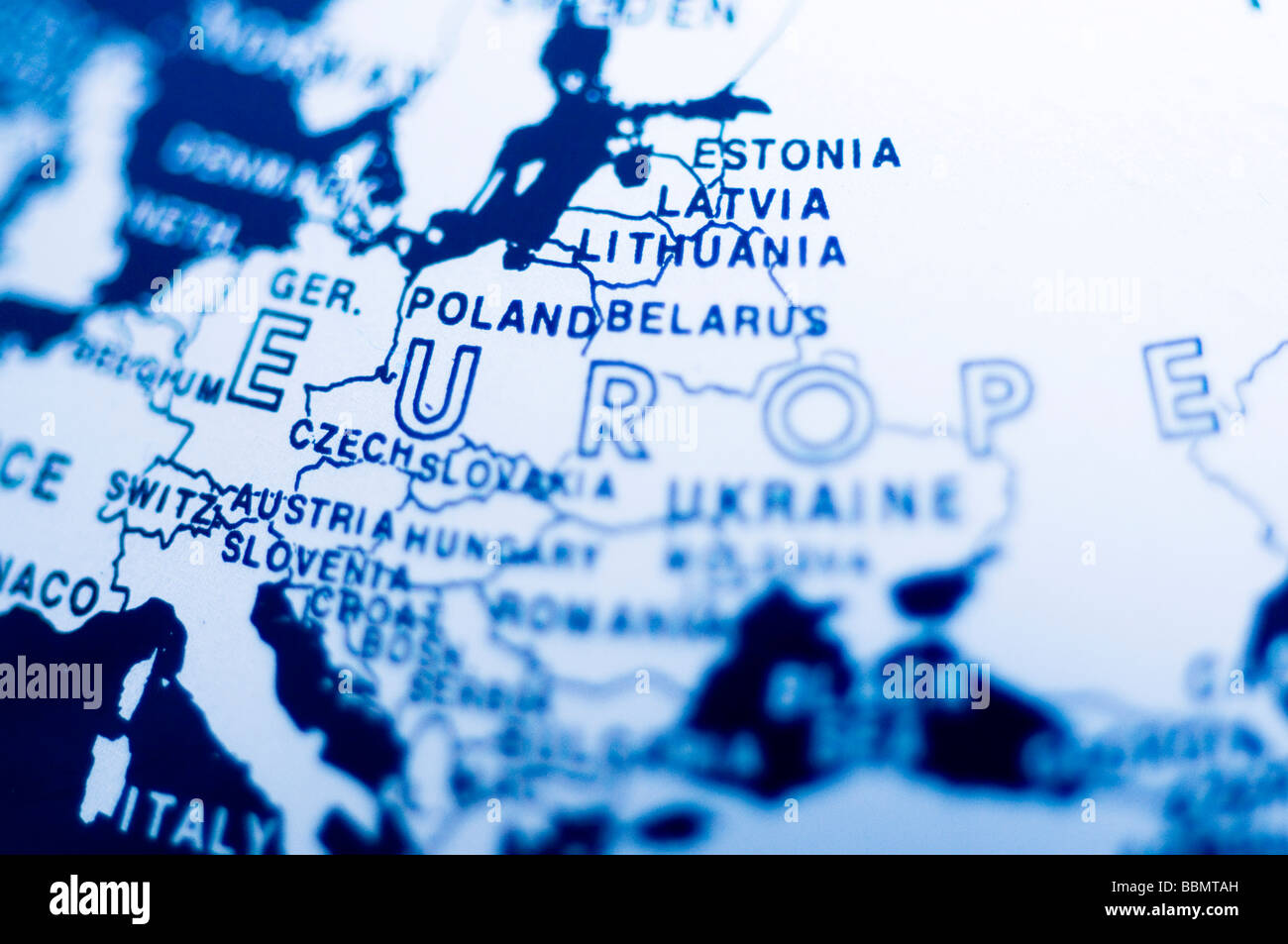 Central europe blue globe world earth planet map Stock Photo