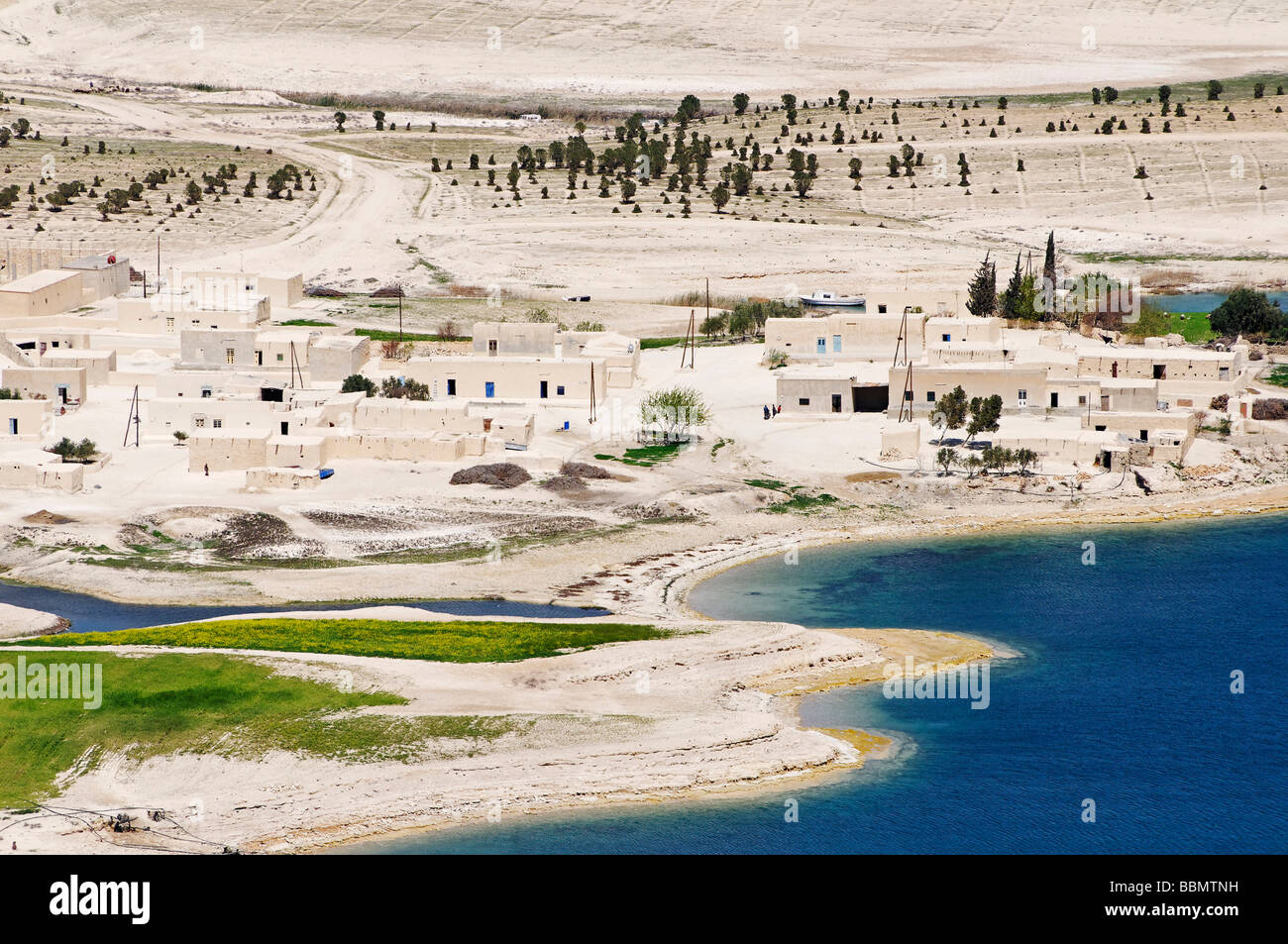 Village at the Asad reservoir of the Euphrates, Syria, Asia - Stock Image
