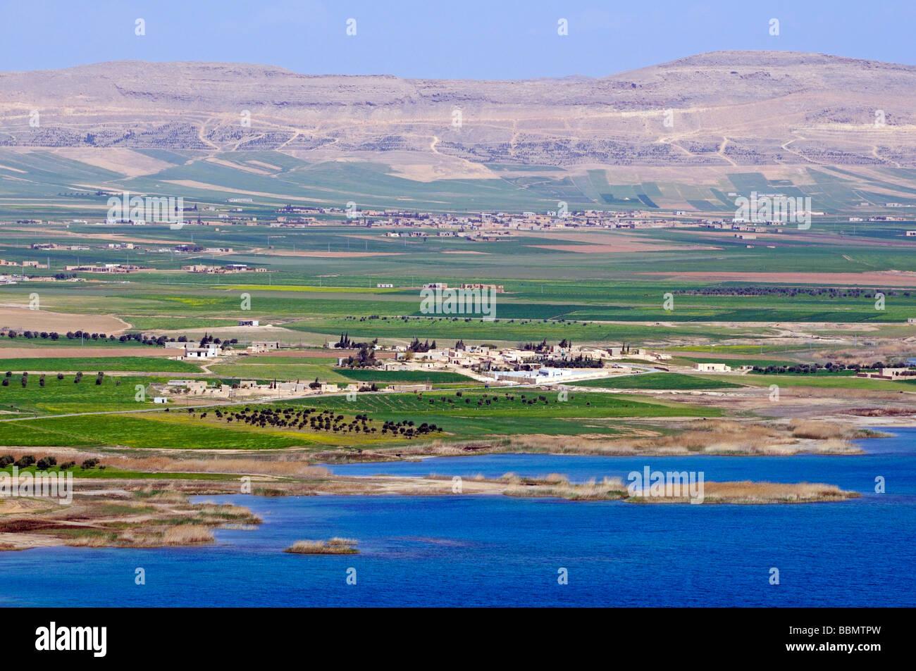 Asad reservoir of the Euphrates, Syria, Asia Stock Photo