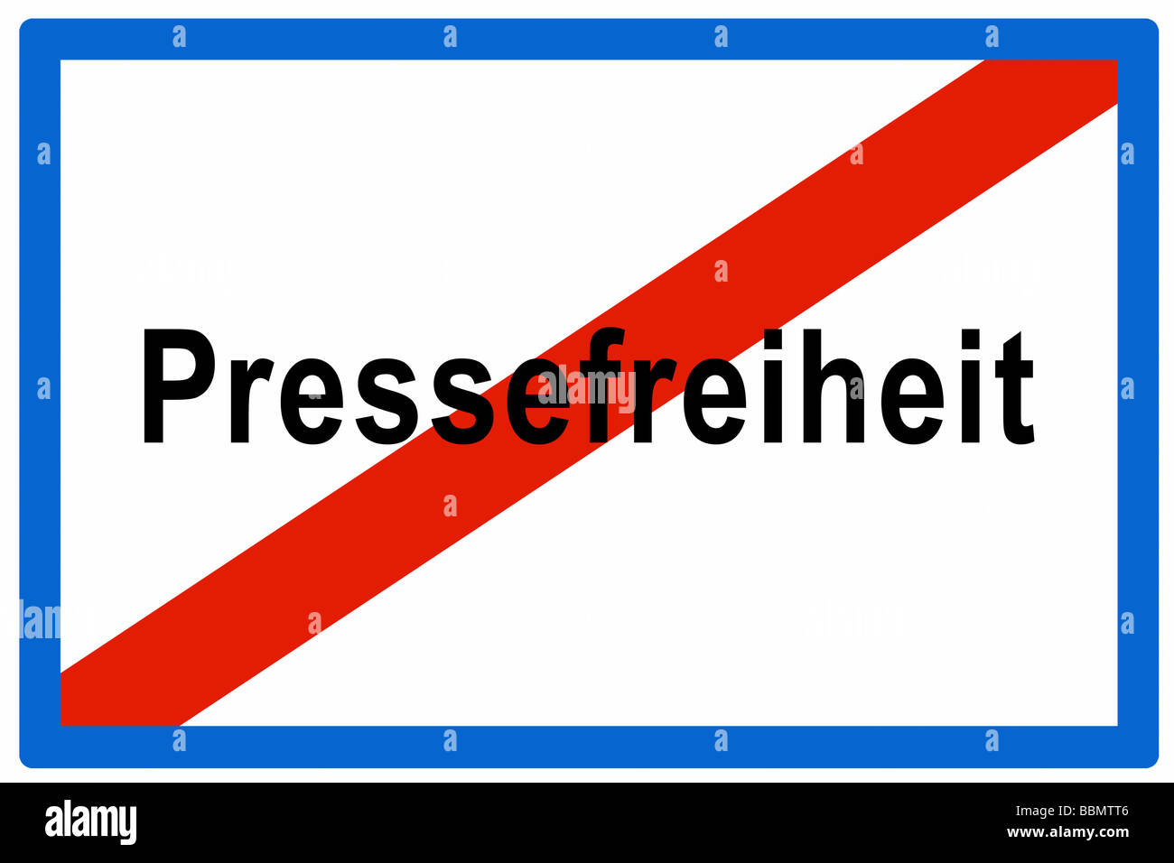 Signboard, Austrian town sign, end of town, 'Leaving Freedom of the Press' - Stock Image