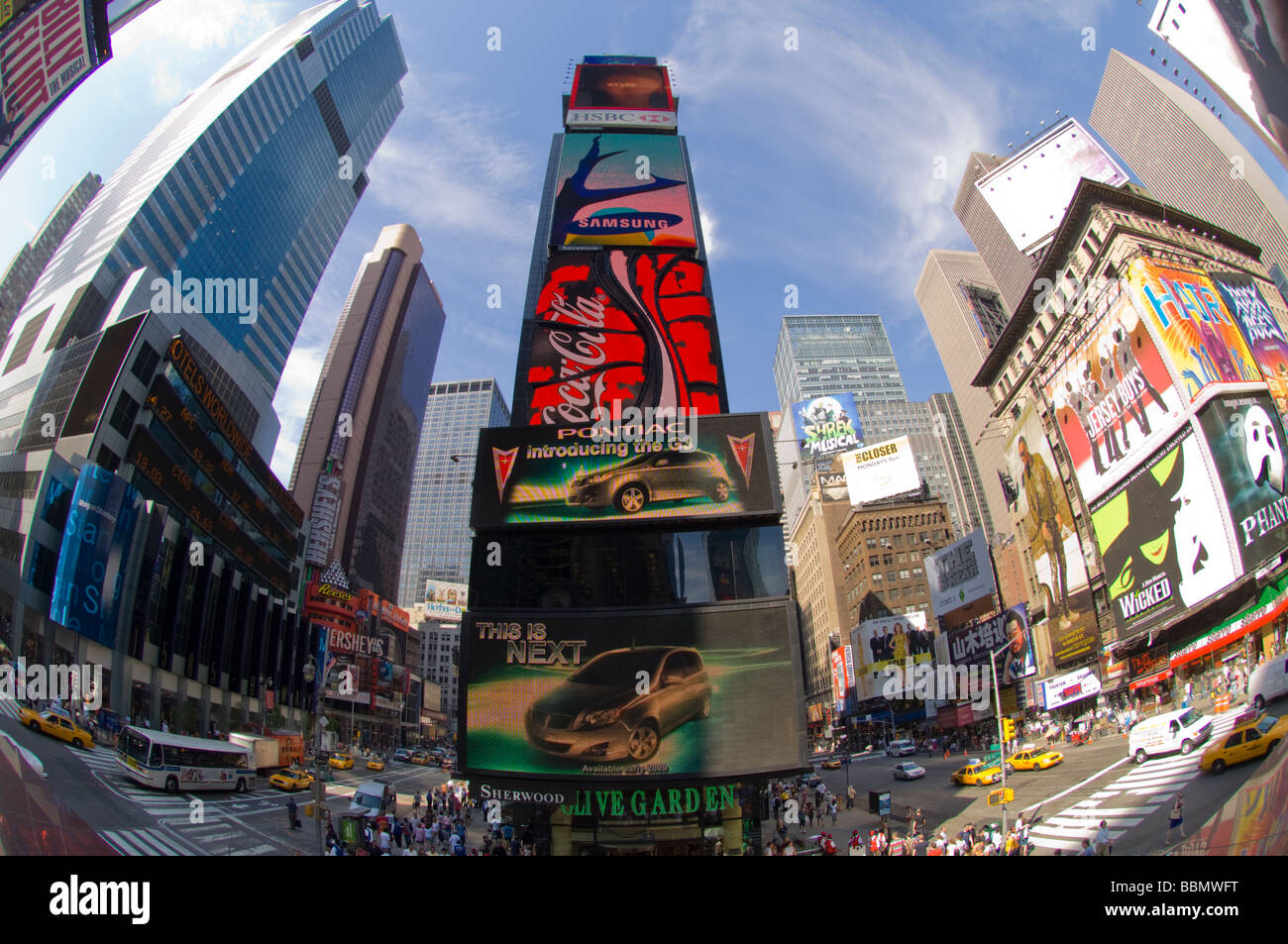 Pontiac a General Motors brand advertises its new G3 car on a billboard in Times Square - Stock Image