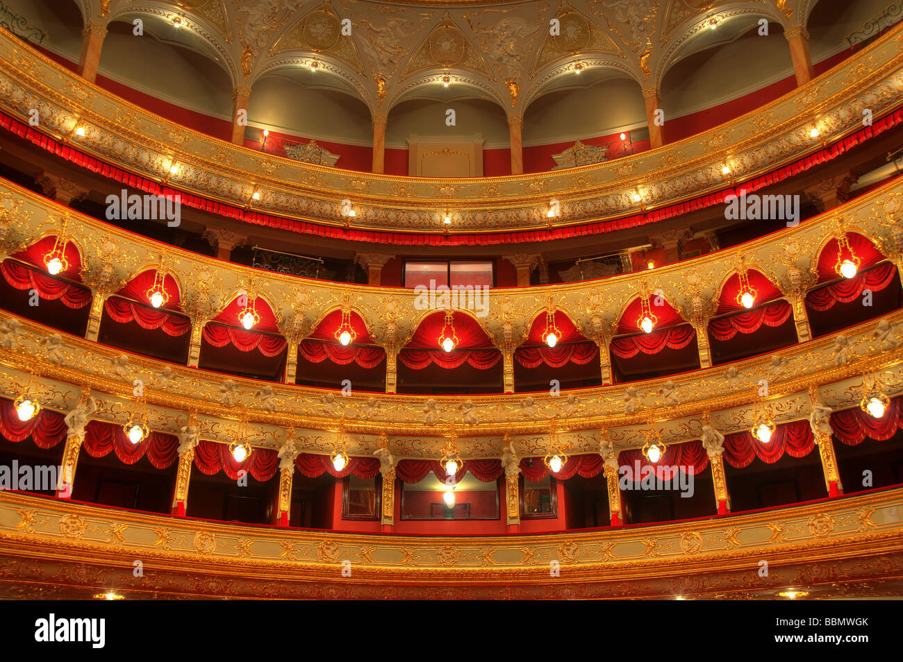 Auditorium An interior of opera theatre Odessa Ukraine - Stock Image