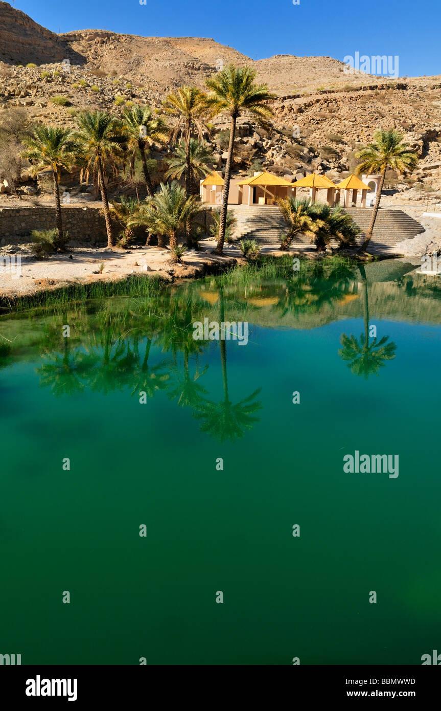 Water pool in a rocky canyon, Wadi Bani Khalid, Sharqiya Region, Sultanate of Oman, Arabia, Middle East Stock Photo