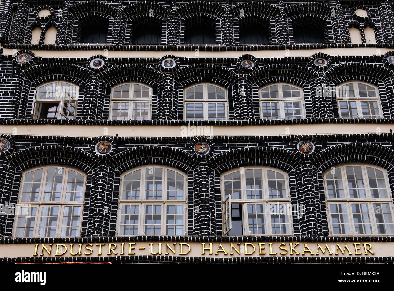 Old brick building, detail, black bricks and 'marriage stones', Renaissance, Lueneburg, Lower Saxony, Germany, - Stock Image