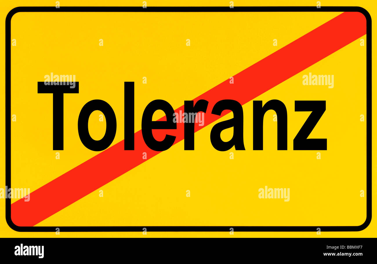 Sign city limits, symbolic image for the end of tolerance Stock Photo