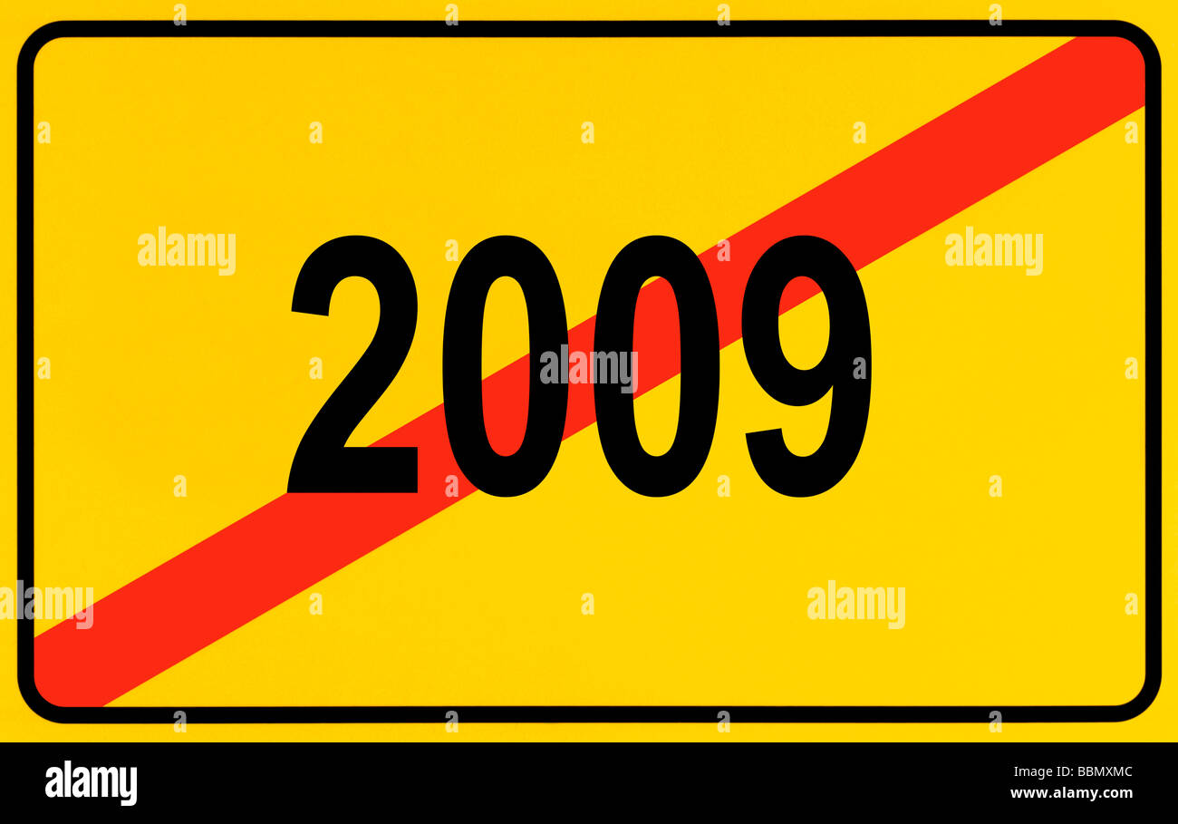 Sign city limits, symbolic image for the end of the year 2009 - Stock Image