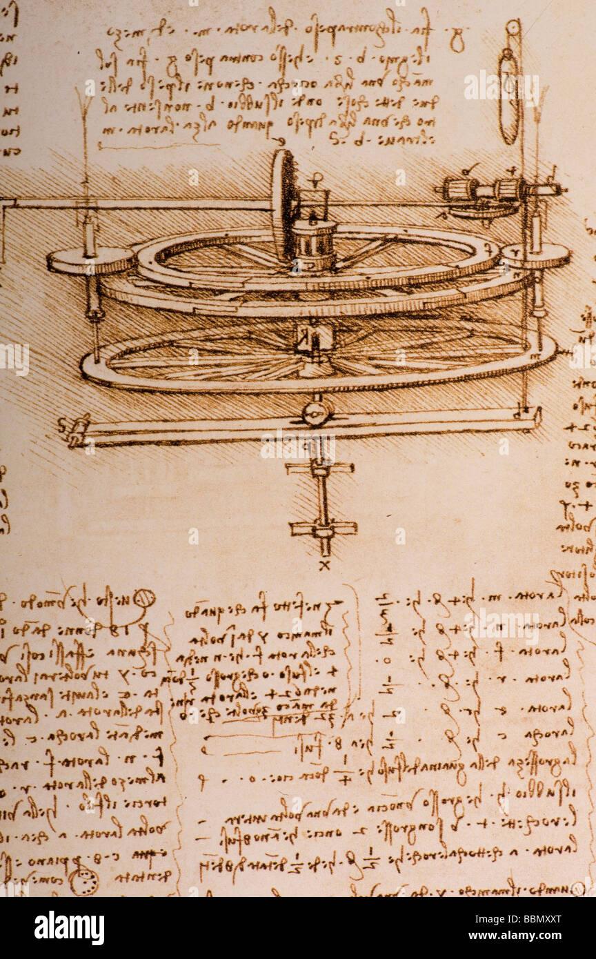Study of the Mechanics of a Spinning Wheel by Leonardo da Vinci 1493-1497 pen and ink Stock Photo