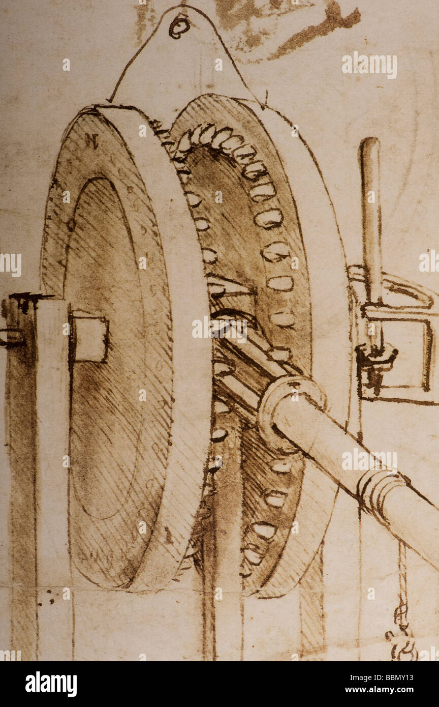 Detail Studies  of  toothed gears and for a Hygrometer by Leonardo da Vinci 1485 pen ink - Stock Image