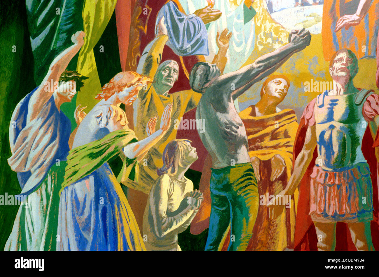 Mural painting by Hans Feibusch St Alban the Martyr church interior Clerkenwell 'The Trinity in Glory', - Stock Image