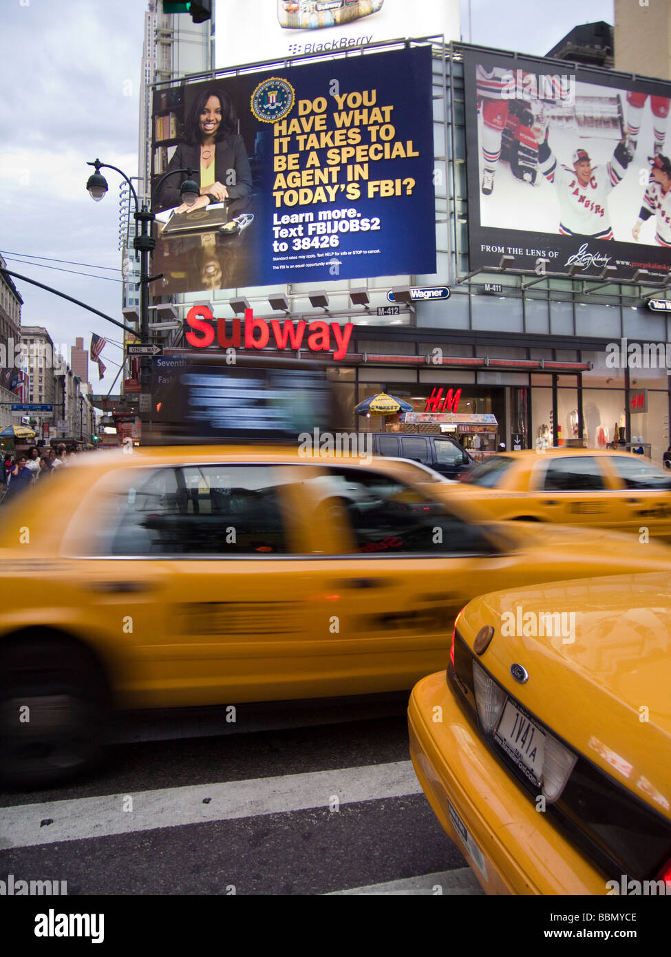 A billboard advertising hiring by the FBI is seen in New York on the busy 34th Street shopping corridor - Stock Image