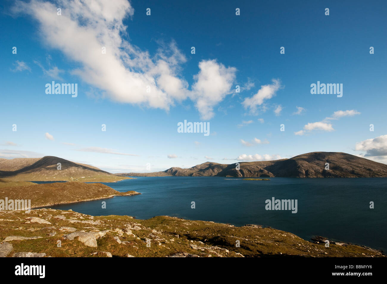 Loch a Siar, and South Harris mountain vista, Isle of Harris, Outer Hebrides, Scotland - Stock Image