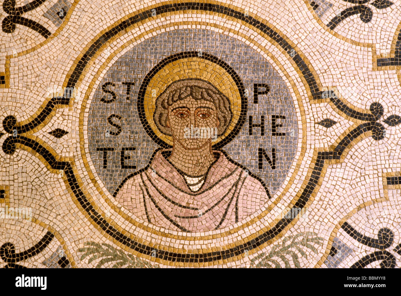 St Stephen Walbrook church interior City of London, floor Mosaic of Saint Stephen England UK - Stock Image