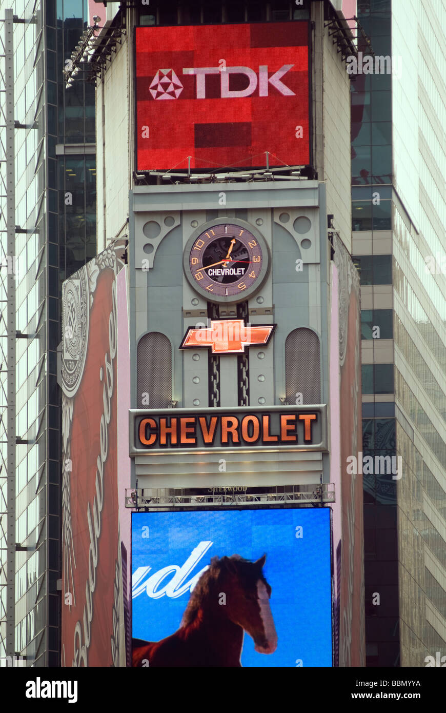 Advertising for General Motors Chevrolet brand is seen in Times Square - Stock Image