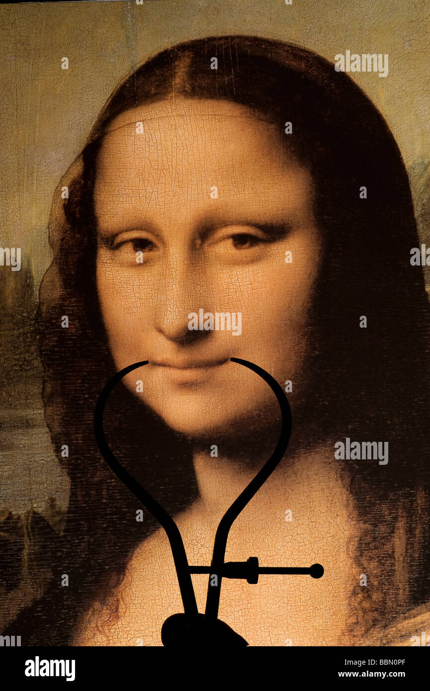 Mona Lisa by Leonardo da Vinci smile being measured by calipers - Stock Image