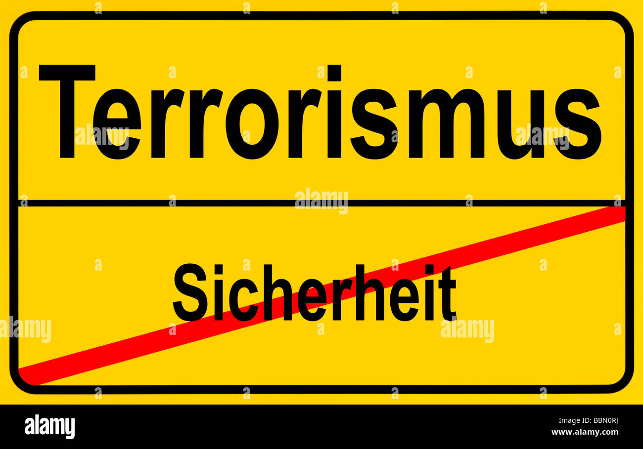 Sign city limits, symbolic image for turning from security to terrorism Stock Photo