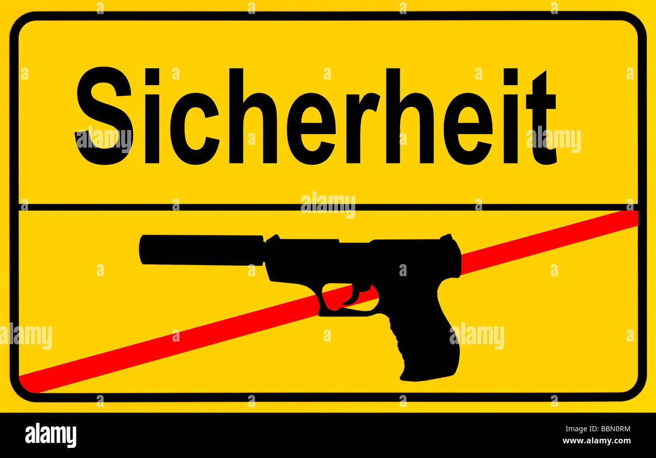 Sign city limits, symbolic image for security without weapons Stock Photo