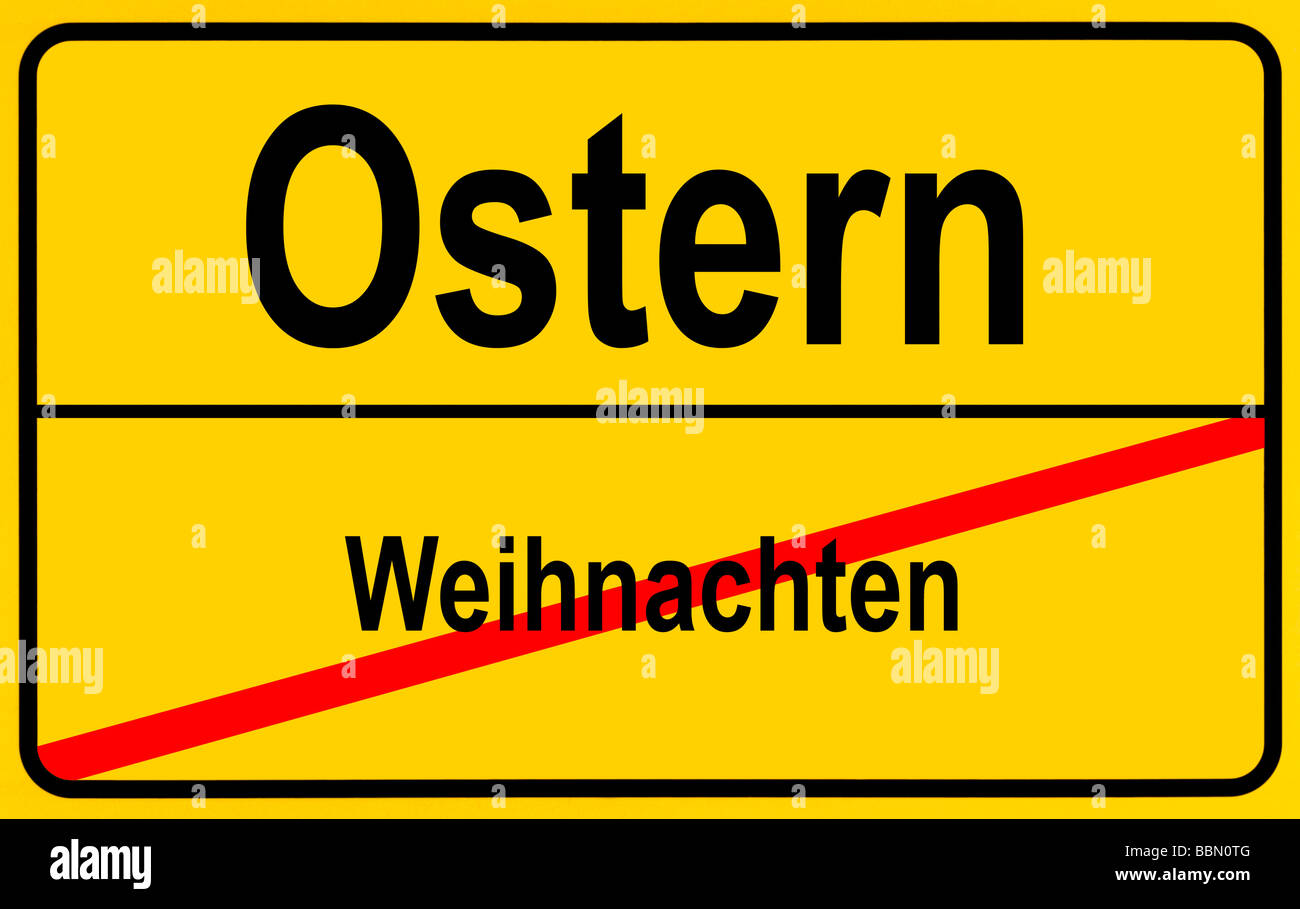 Sign city limits, symbolic image for the end of Christmas and the beginning of Easter Stock Photo