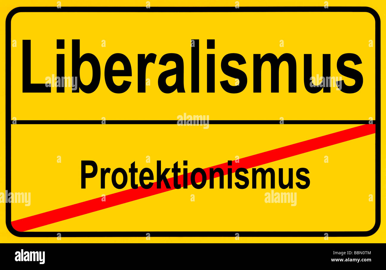 German sign city limits, symbolic image for the development from protectionism to liberalism - Stock Image