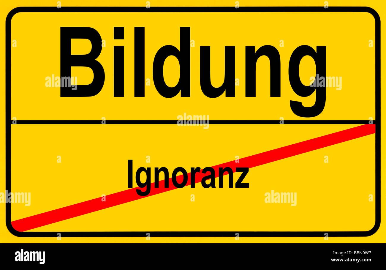 Sign city limits, symbolic image for the progress of ignorance and stupidity towards education Stock Photo
