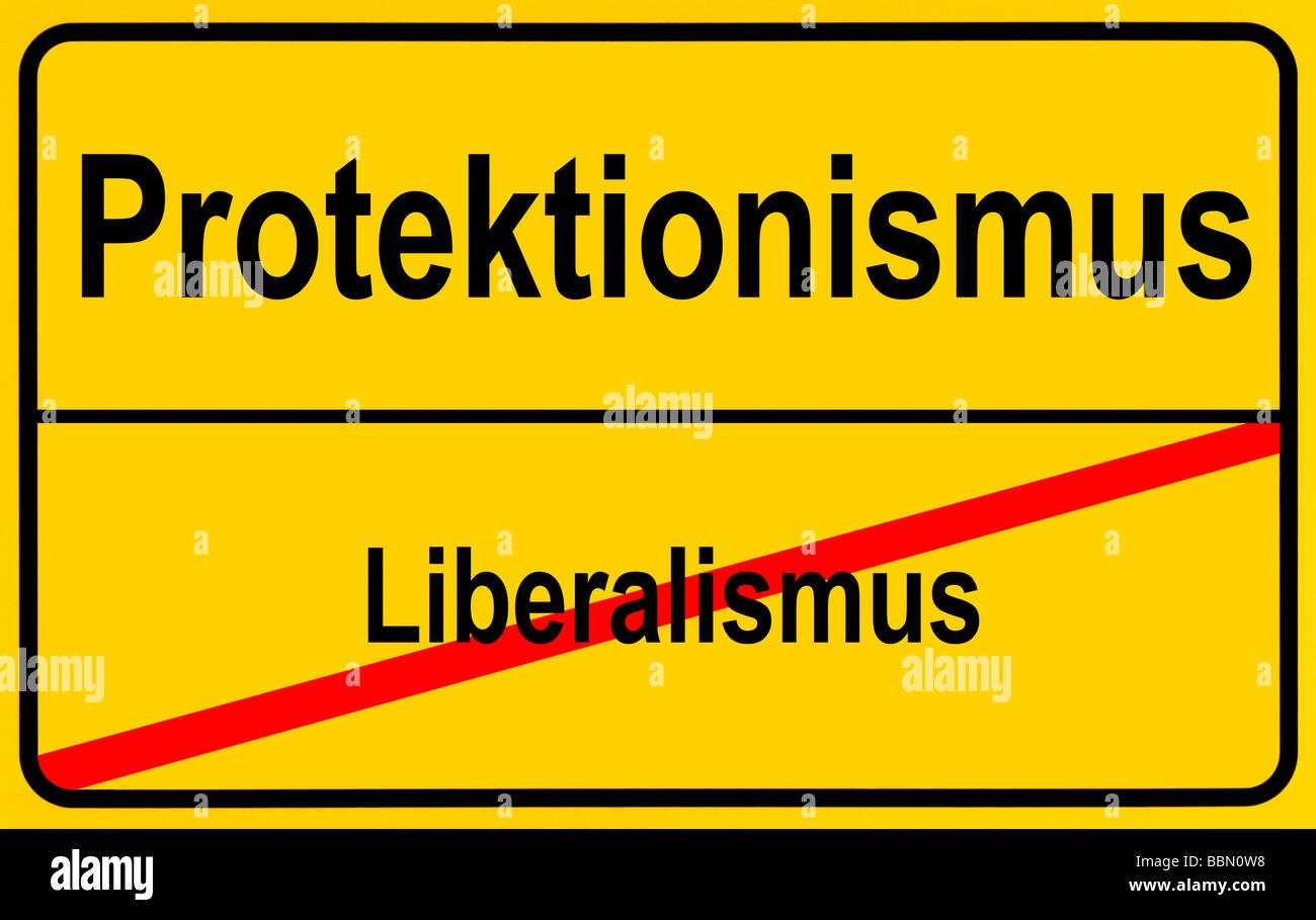 Sign city limits, symbolic image for the development from liberalism to protectionism - Stock Image
