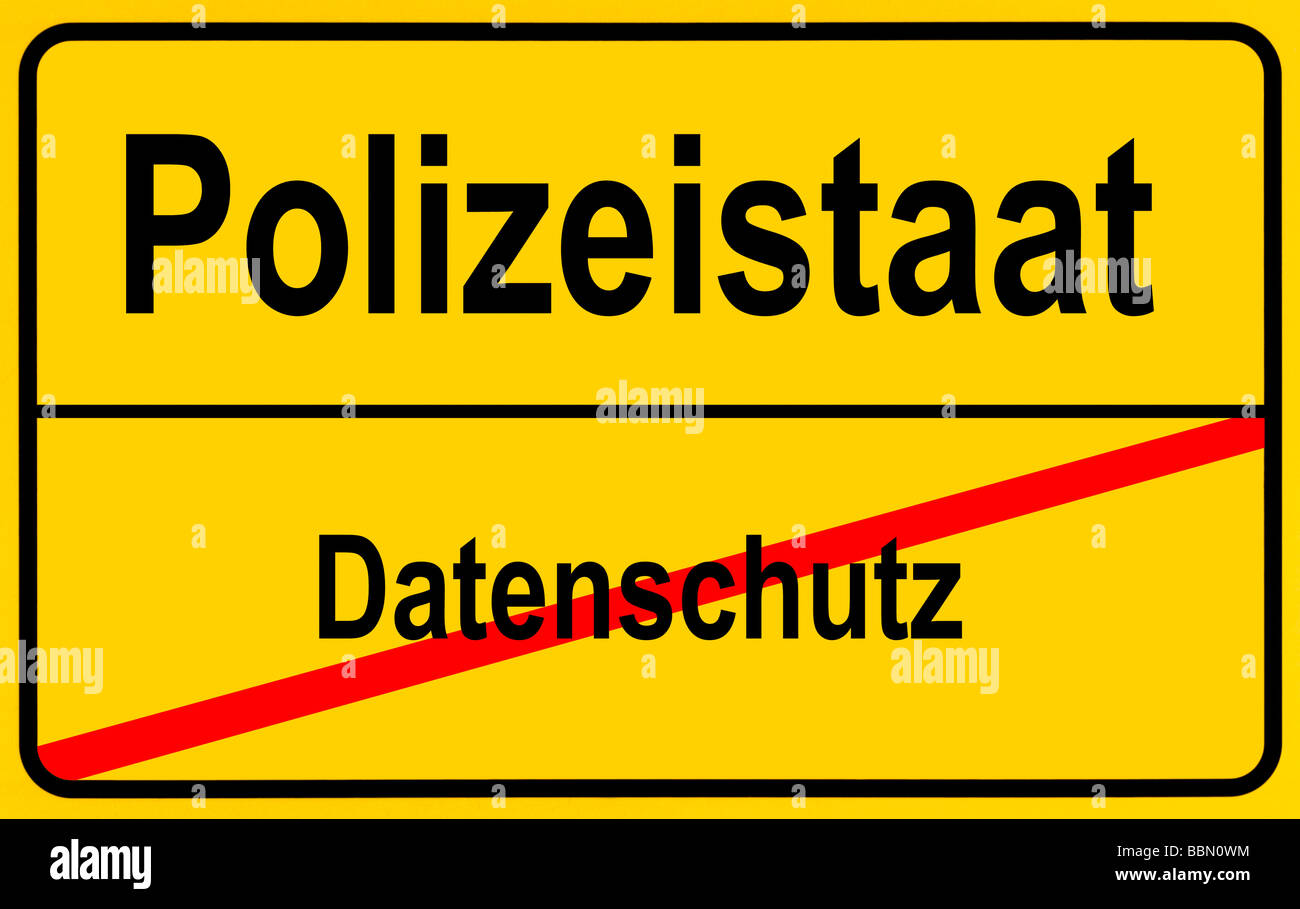 Sign city limits, symbolic image for the danger of a police state through a dilution of data protection Stock Photo
