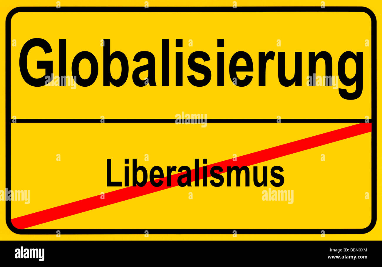 German sign city limits, symbolic image for the development from liberalism to globalism - Stock Image