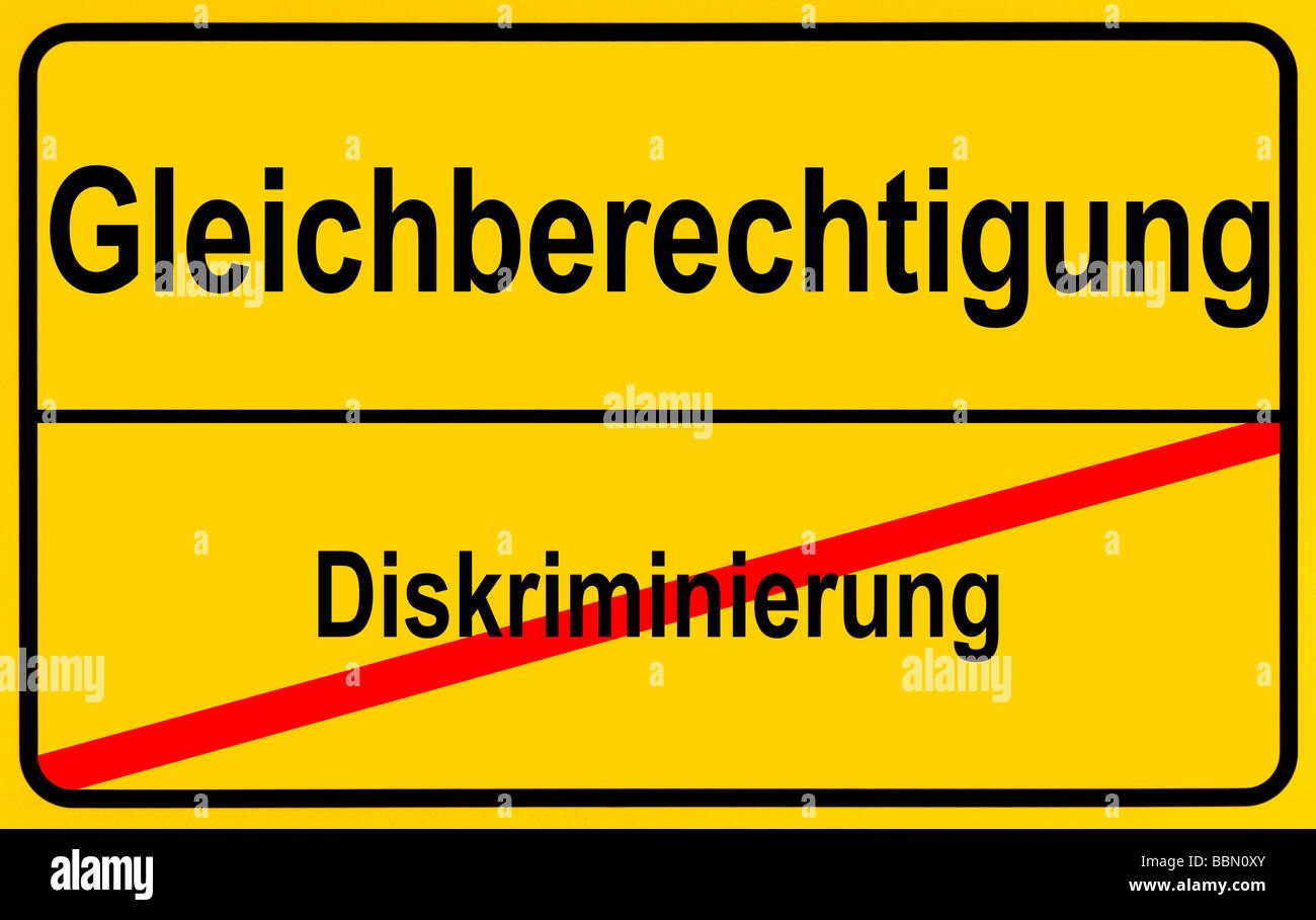 Sign city limits, symbolic image for turning away from discrimination towards equality Stock Photo