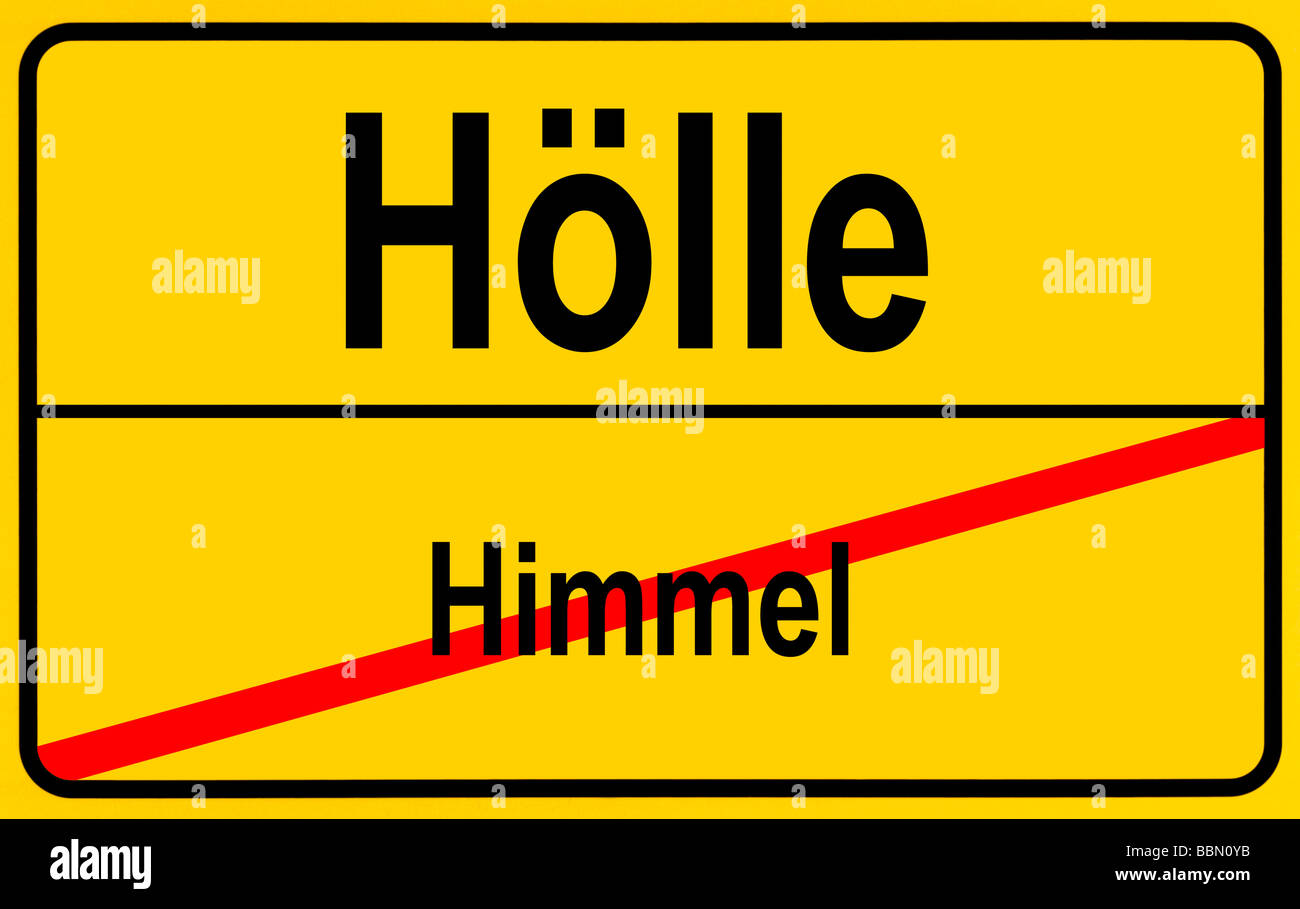 Sign city limits, symbolic image for the transition from heaven to hell - Stock Image