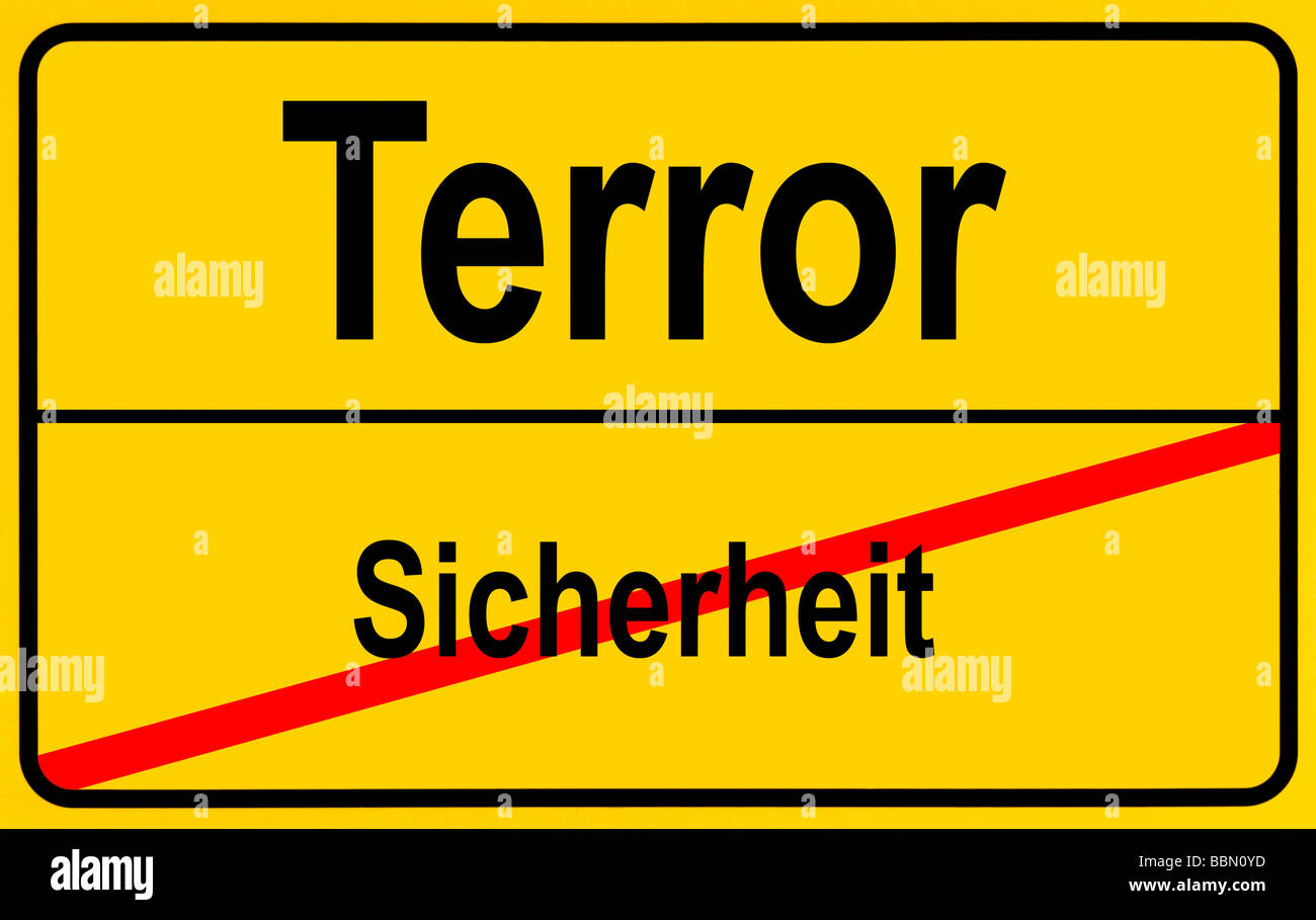 Sign city limits, symbolic image for turning away from security to terror Stock Photo