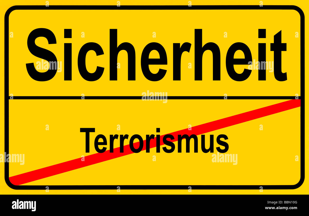 Sign city limits, symbolic image for turning away from terrorism towards safety Stock Photo
