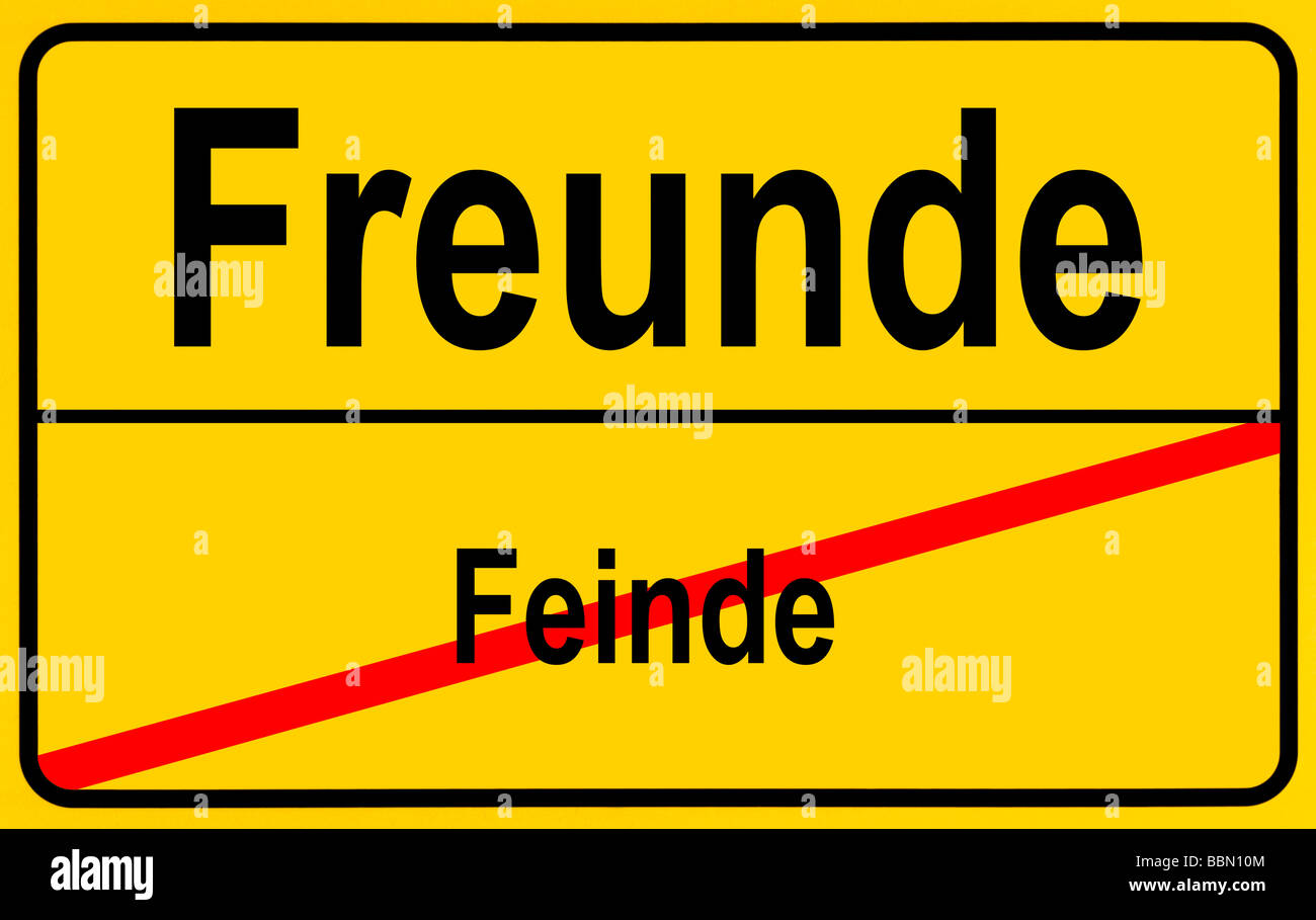 Sign city limits, symbolic image for going from enmity to friendship Stock Photo