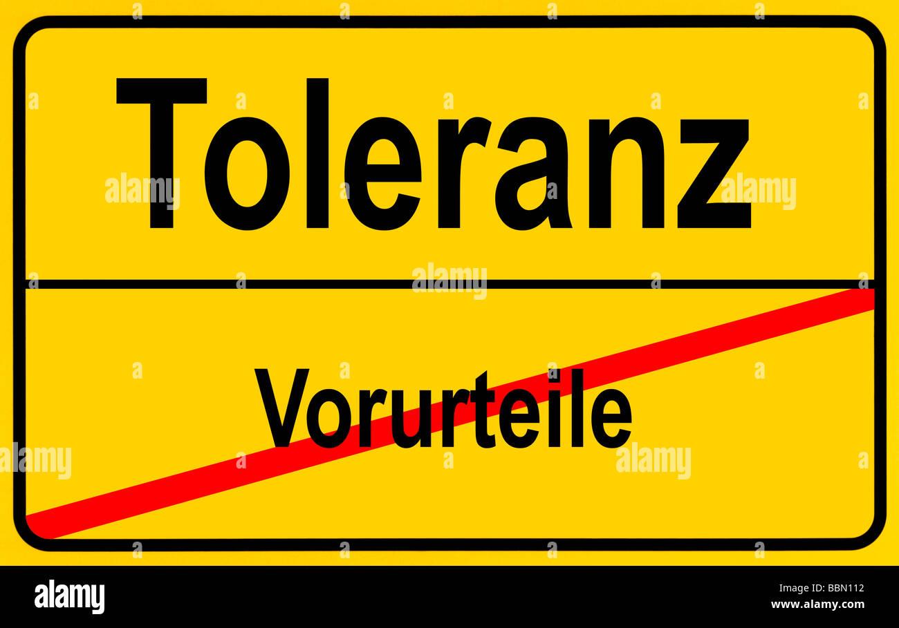 Sign city limits, symbolic image for turningaway from prejudices towards tolerance Stock Photo