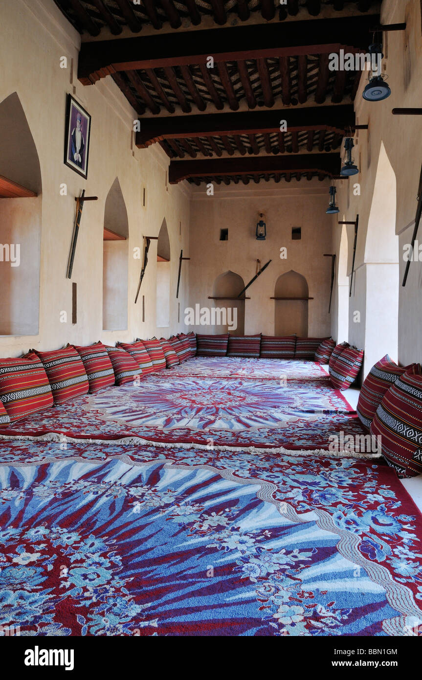 Traditional arabian sitting room, historic adobe fortification, Jaalan Bani Bu Hasan Fort or Castle, Sharqiya Region, Stock Photo
