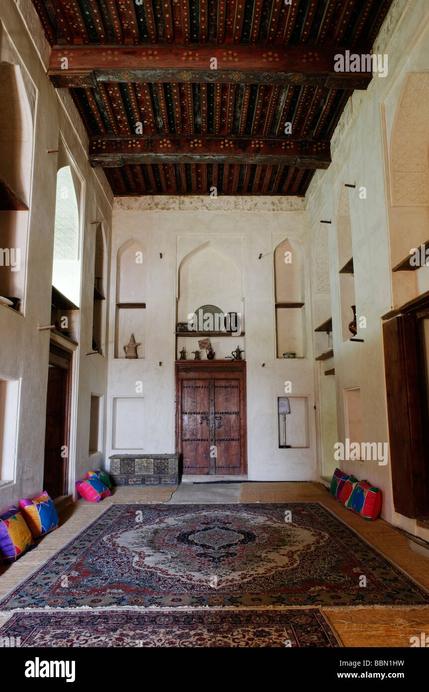 Traditional arabian living room at Jabrin Castle or Fort, Dakhliyah Region, Sultanate of Oman, Arabia, Middle East Stock Photo