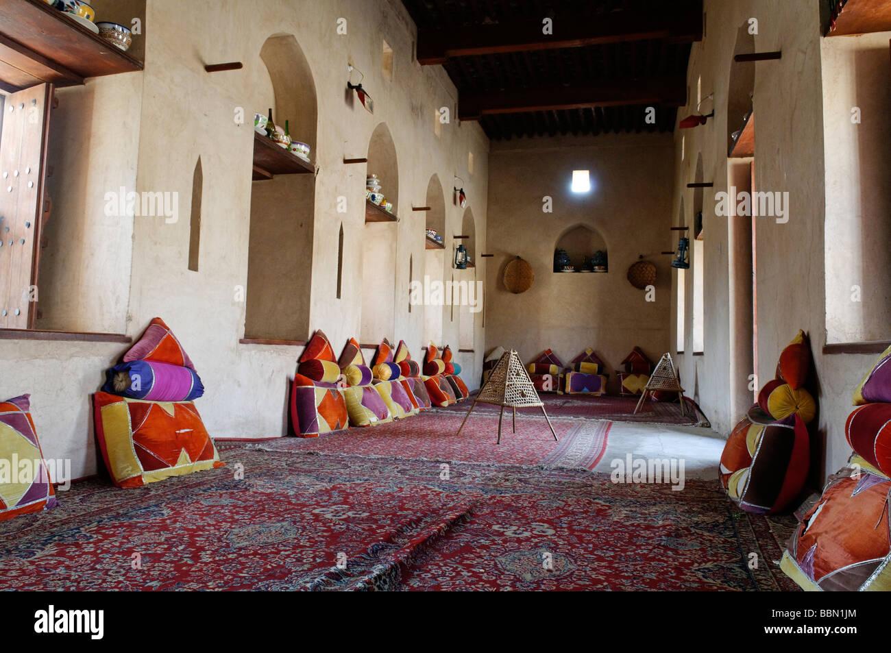 Traditional Arabian sitting room, historic adobe fortification Nakhal, Nakhl Fort or Castle, Hajar al Gharbi Mountains, Stock Photo