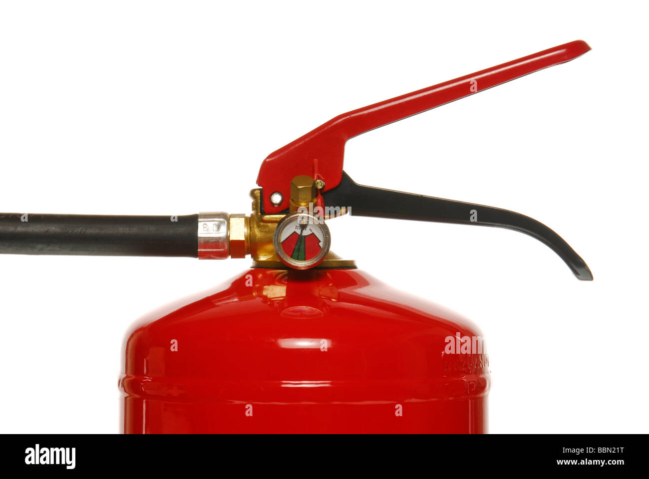 Macro of a fire extinguisher - Stock Image