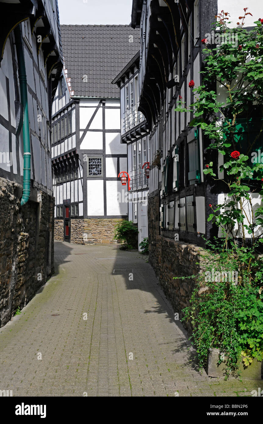 Small alley, idyll, old town, half-timbered, frame houses, Hattingen, NRW, North Rhine-Westphalia, Germany, Europe - Stock Image