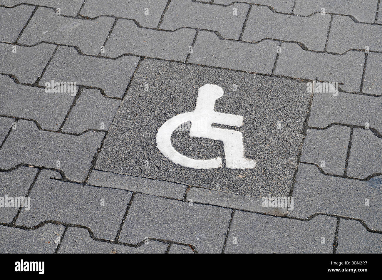 Symbol, wheelchair, disabled parking spot, disabled access, parking lot, Essen, NRW, North Rhine-Westphalia, Germany, - Stock Image