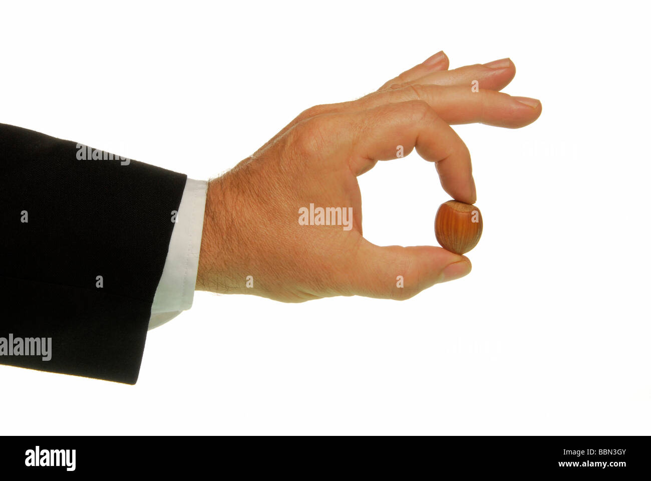 Manager-hand with hazelnut, symbolic image for problems - Stock Image
