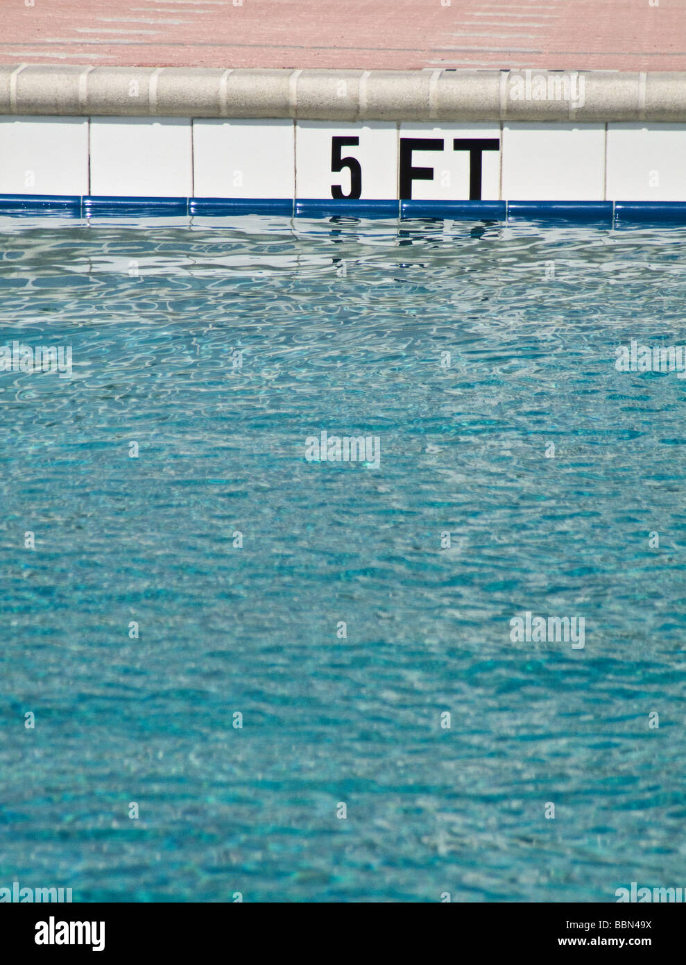 depth markings for pool - Stock Image