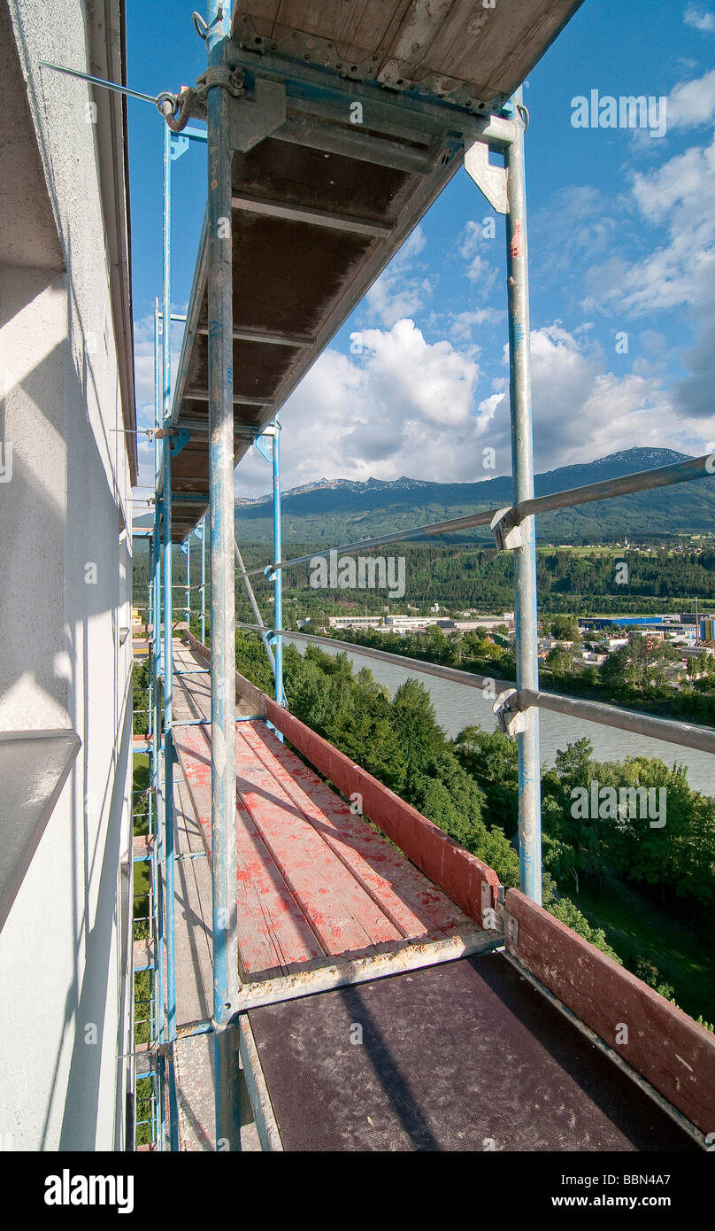 Scaffolding on a building, high-rise building, Olympic village, Innsbruck, Austria, Europe - Stock Image