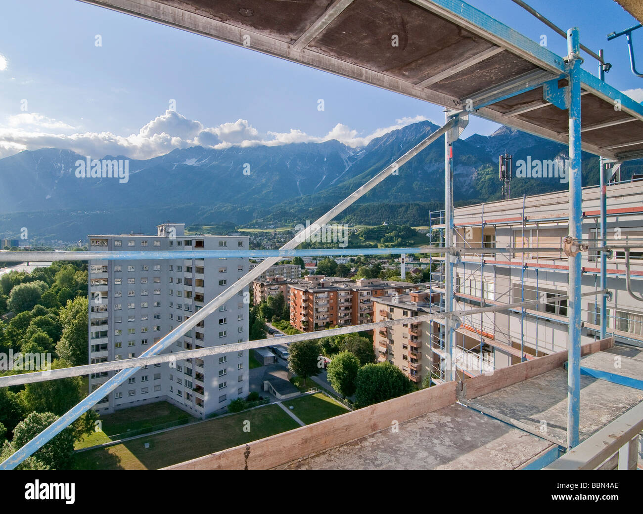 Scaffolding, fixation rod, scaffolding on a building, high-rise building, Olympic village, Innsbruck, Austria, Europe - Stock Image