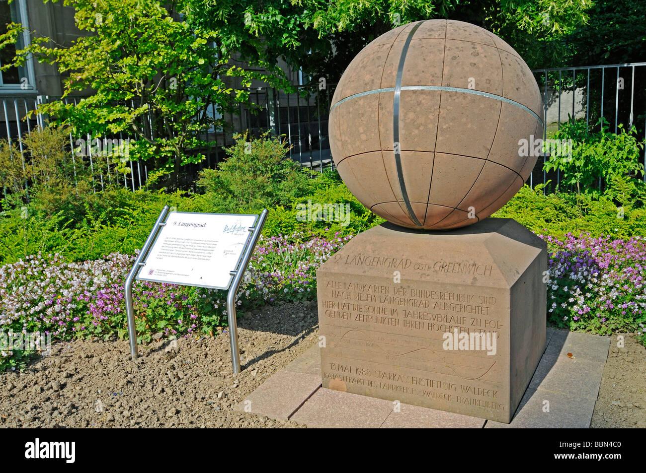 Ninth Longitude, Greenwich, globe, Meridian, marker, monument Meridian, Bad Arolsen, Hesse, Germany, Europe - Stock Image